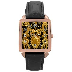 Golden Sun Rose Gold Leather Watch