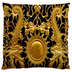 Golden Sun Large Flano Cushion Case (two Sides)