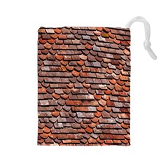 Roof Tiles On A Country House Drawstring Pouches (large)