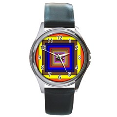 Square Abstract Geometric Art Round Metal Watch