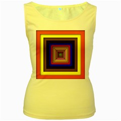 Square Abstract Geometric Art Women s Yellow Tank Top