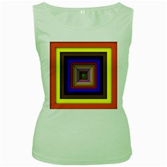 Square Abstract Geometric Art Women s Green Tank Top