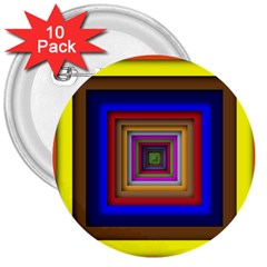 Square Abstract Geometric Art 3  Buttons (10 Pack)