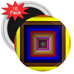 Square Abstract Geometric Art 3  Magnets (10 Pack)
