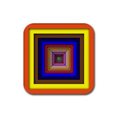 Square Abstract Geometric Art Rubber Square Coaster (4 Pack)