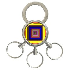 Square Abstract Geometric Art 3-Ring Key Chains