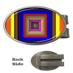 Square Abstract Geometric Art Money Clips (Oval)