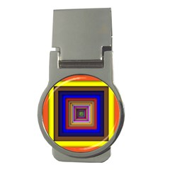 Square Abstract Geometric Art Money Clips (round)