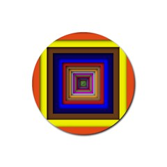 Square Abstract Geometric Art Rubber Round Coaster (4 Pack)
