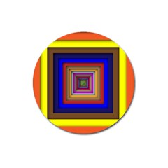 Square Abstract Geometric Art Magnet 3  (round)