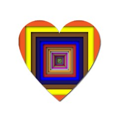 Square Abstract Geometric Art Heart Magnet