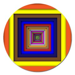 Square Abstract Geometric Art Magnet 5  (Round)