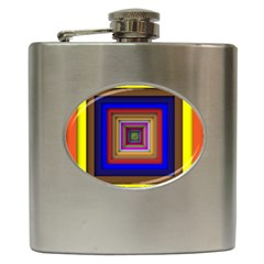 Square Abstract Geometric Art Hip Flask (6 Oz)