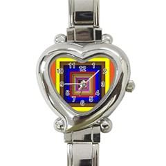 Square Abstract Geometric Art Heart Italian Charm Watch