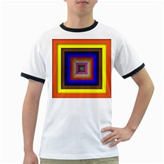 Square Abstract Geometric Art Ringer T Shirts