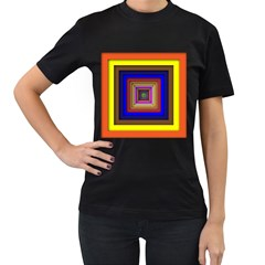 Square Abstract Geometric Art Women s T-Shirt (Black) (Two Sided)