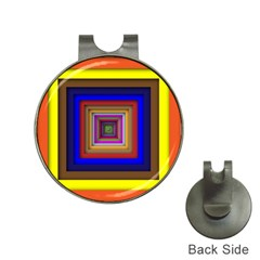 Square Abstract Geometric Art Hat Clips With Golf Markers
