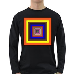 Square Abstract Geometric Art Long Sleeve Dark T Shirts