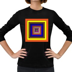Square Abstract Geometric Art Women s Long Sleeve Dark T-Shirts