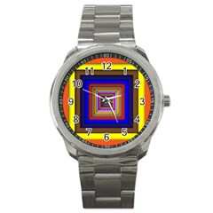 Square Abstract Geometric Art Sport Metal Watch