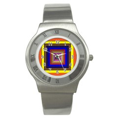 Square Abstract Geometric Art Stainless Steel Watch