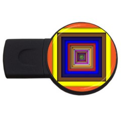 Square Abstract Geometric Art Usb Flash Drive Round (4 Gb)