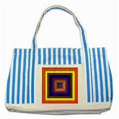 Square Abstract Geometric Art Striped Blue Tote Bag