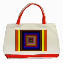 Square Abstract Geometric Art Classic Tote Bag (red)