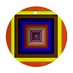 Square Abstract Geometric Art Round Ornament (two Sides)