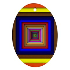 Square Abstract Geometric Art Oval Ornament (two Sides)
