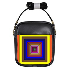 Square Abstract Geometric Art Girls Sling Bags