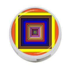 Square Abstract Geometric Art 4-Port USB Hub (One Side)