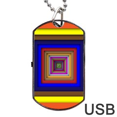 Square Abstract Geometric Art Dog Tag USB Flash (One Side)