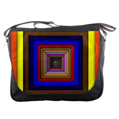 Square Abstract Geometric Art Messenger Bags