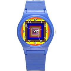 Square Abstract Geometric Art Round Plastic Sport Watch (s)