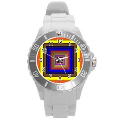 Square Abstract Geometric Art Round Plastic Sport Watch (l)