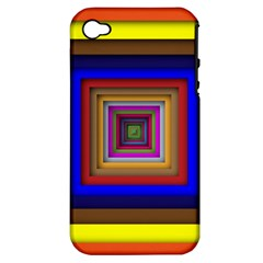 Square Abstract Geometric Art Apple Iphone 4/4s Hardshell Case (pc+silicone)