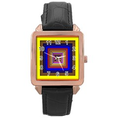 Square Abstract Geometric Art Rose Gold Leather Watch