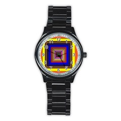 Square Abstract Geometric Art Stainless Steel Round Watch