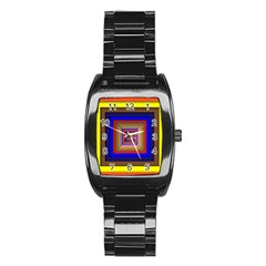 Square Abstract Geometric Art Stainless Steel Barrel Watch