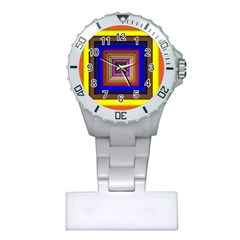 Square Abstract Geometric Art Plastic Nurses Watch