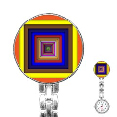 Square Abstract Geometric Art Stainless Steel Nurses Watch