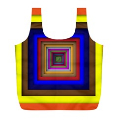 Square Abstract Geometric Art Full Print Recycle Bags (l)