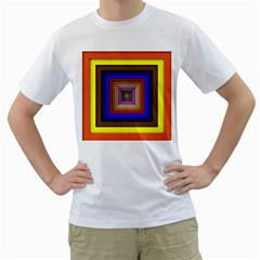 Square Abstract Geometric Art Men s T Shirt (white)
