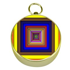 Square Abstract Geometric Art Gold Compasses