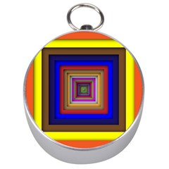 Square Abstract Geometric Art Silver Compasses