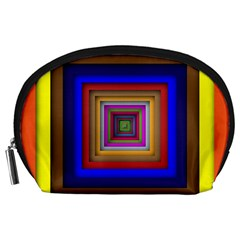 Square Abstract Geometric Art Accessory Pouches (Large)