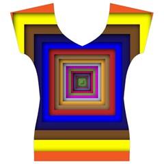 Square Abstract Geometric Art Women s V-Neck Cap Sleeve Top