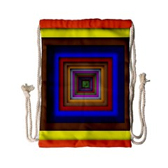 Square Abstract Geometric Art Drawstring Bag (Small)