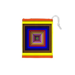 Square Abstract Geometric Art Drawstring Pouches (XS)
